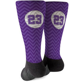 Volleyball Printed Mid-Calf Socks - Personalized Volleyball With Chevron