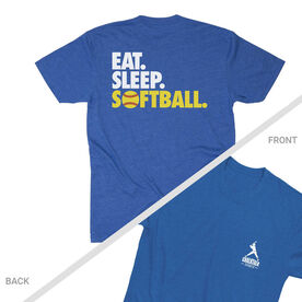 Softball T-Shirt Short Sleeve - I'd Rather Be Playing Softball Distressed (Logo Collection)