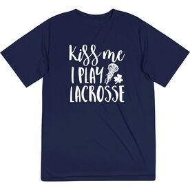 Girls Lacrosse Short Sleeve Performance Tee - Kiss Me I Play Lacrosse