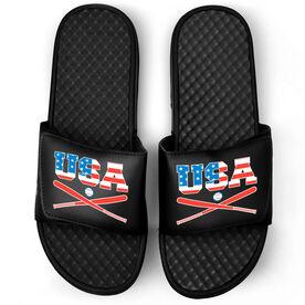 Baseball Black Slide Sandals - USA Baseball
