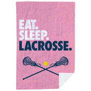 Girls Lacrosse Premium Blanket - Eat. Sleep. Lacrosse. Vertical