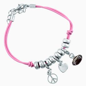 Peace Love Football Silver Charm Bracelet