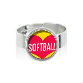 Heart Softball SportSNAPS Ring