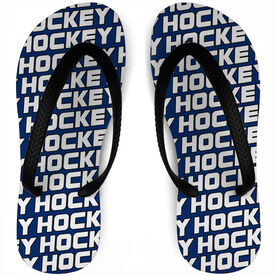Hockey Flip Flops Personalized All Over Pattern