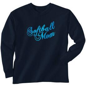 Softball Tshirt Long Sleeve Mom Script