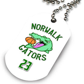 Basketball Printed Dog Tag Necklace Custom Basketball Logo with Team Number