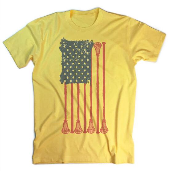 Guys Lacrosse Vintage T-Shirt - American Flag