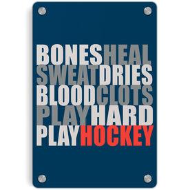 Hockey Metal Wall Art Panel - Bones Saying