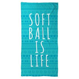 Softball Beach Towel Softball Is Life Aztec