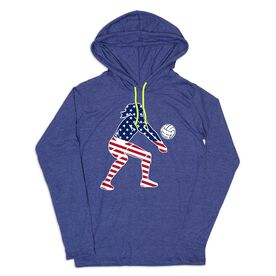 Women's Volleyball Lightweight Hoodie - Volleyball Stars and Stripes