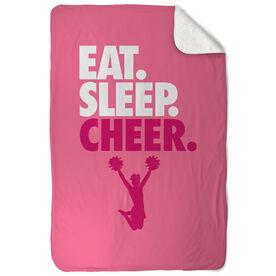 Cheerleading Sherpa Fleece Blanket - Eat. Sleep. Cheer. Vertical