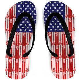 Guys Lacrosse Flip Flops USA Flag Sticks