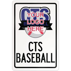 "Baseball Aluminum Room Sign Custom Baseball Logo With Team Name (18"" X 12"")"