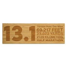 """Running 12.5"""" X 4"""" Engraved Bamboo Removable Wall Tile - 13.1 Math Miles"""