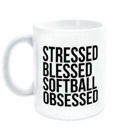 Softball Coffee Mug - Stressed Blessed Softball Obsessed