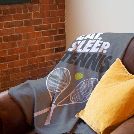 Tennis Premium Blanket - Eat. Sleep. Tennis. Vertical