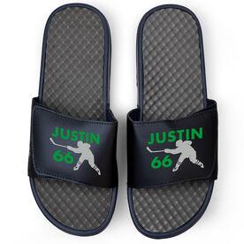 Hockey Navy Slide Sandals - Personalized Hockey Shooter