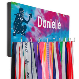 Softball Hooked on Medals Hanger - Personalized Catcher With Tie-Dye