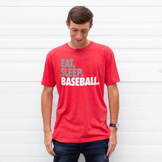 Baseball Tshirt Short Sleeve Eat Sleep Baseball Bold Text