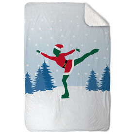 Figure Skating Sherpa Fleece Blanket - Santa Figure Skater