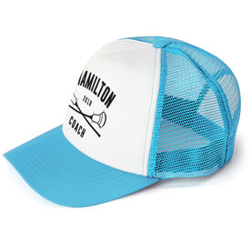 Guys Lacrosse Trucker Hat - Team Name Coach With Curved Text