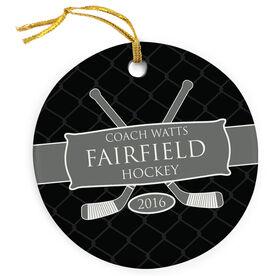 Hockey Porcelain Ornament Personalized Thanks Coach Ribbon with Hockey Sticks