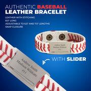 Authentic Baseball Leather Bracelet With Slider - Personalized Bat