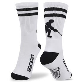 Hockey Woven Mid Calf Socks - Player (White/Black)
