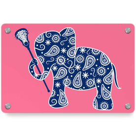 Girls Lacrosse Metal Wall Art Panel - Lax Elephant