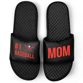 Baseball Black Slide Sandals - #1 Baseball Mom