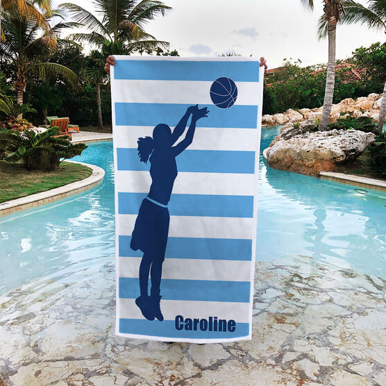 Basketball Premium Beach Towel - Stripes with Girl Silhouette