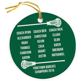 Guys Lacrosse Porcelain Ornament Personalized Team Roster