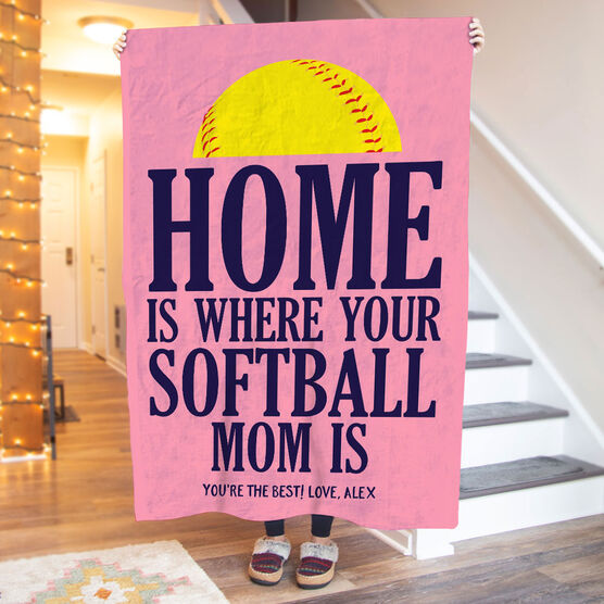 Softball Premium Blanket - Home Is Where Your Softball Mom Is