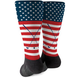 Golf Printed Mid-Calf Socks - USA Stars and Stripes
