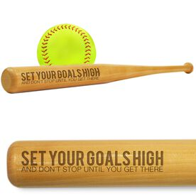Softball Mini Engraved Bat Set Your Goals