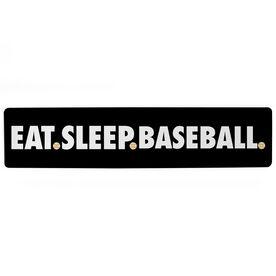 "Baseball Aluminum Room Sign - Eat Sleep Baseball (4""x18"")"