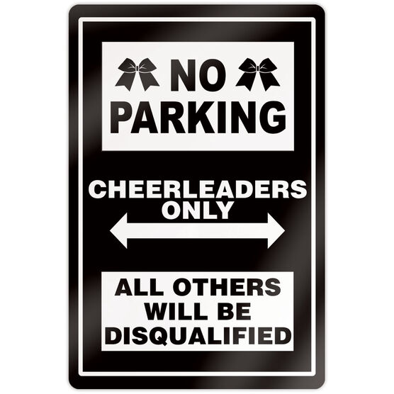 "Cheerleading 18"" X 12"" Aluminum Room Sign - No Parking Sign With Bows"