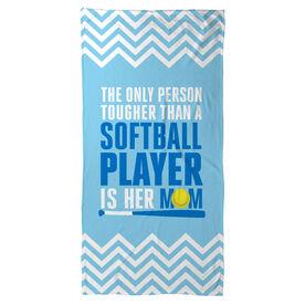 Softball Beach Towel Tougher Than A Softball Player