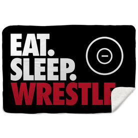 Wrestling Sherpa Fleece Blanket - Eat. Sleep. Wrestle. Horizontal