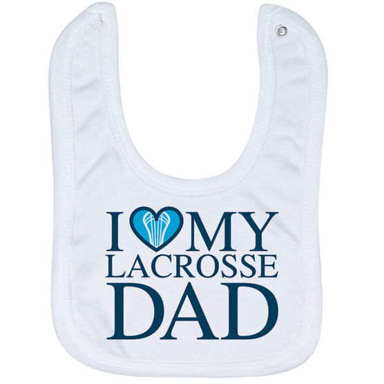 Guys Lacrosse Baby Bib - I Love My Lacrosse Dad