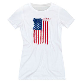 Hockey Women's Everyday Tee - American Flag (Destressed)