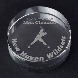 Softball Personalized Engraved Crystal Gift - Player Silhouette with Custom Text (Batter)