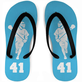 Guys Lacrosse Flip Flops Personalized Male Silhouette With Number