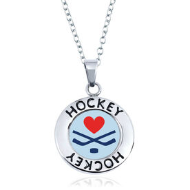 Hockey Circle Necklace - Crossed Sticks Heart