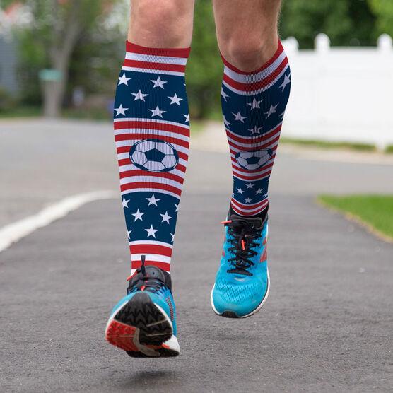 Soccer Printed Knee-High Socks - USA Stars and Stripes