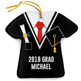 Personalized Porcelain Ornament - Graduation Outfit Shirt With Tie