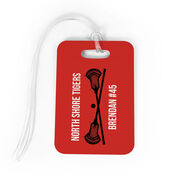 Guys Lacrosse Bag/Luggage Tag - Personalized Text with Crossed Sticks