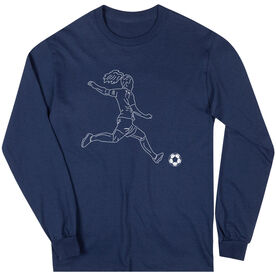 Soccer Long Sleeve T-Shirt - Soccer Girl Player Sketch