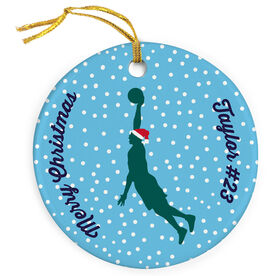 Basketball Porcelain Ornament Silhouette With Santa Hat