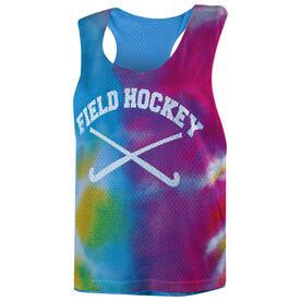 Field Hockey Racerback Pinnie - Tie Dye Pattern with Field Hockey Sticks